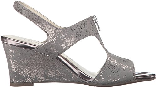 Anne Klein Womens edan Fabric Wedge Sandal Pewter