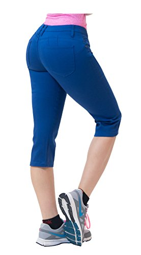 Blue Denim Stretch Capri Jeans (Hybrid & CO. Women's Butt Lift Super Comfy Stretch Denim Capri Jeans Blue 9)