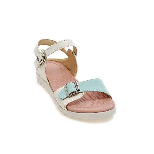 Amoonyfashion Donna Fibbia Tacchi Bassi Di Colore Assortiti Zeppe-sandali Blu