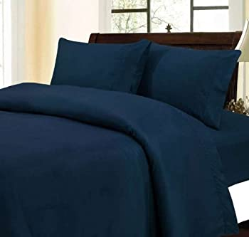 LUXURIOUS Egyptian Bedding 1800 Collection Superior Hotel Quality Wrinklefree Brushed Microfiber Bed Sheet Set ( KING, NAVY ), classic 3 line Embroidary pillow cases, 5 Year FULL Warranty