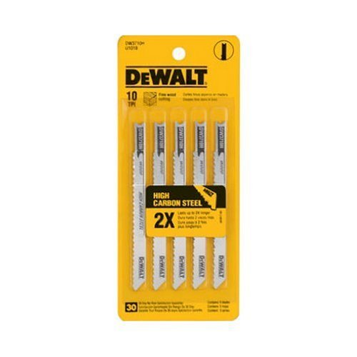 DEWALT DW3712H 4-Inch 10 TPI Laminate Down Cutting HCS U-Shank Woodcutting Jig Saw Blade (5-Pack)