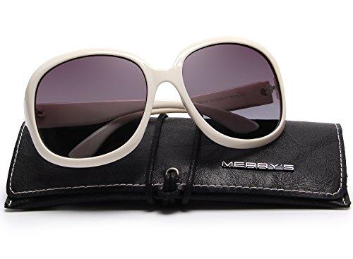 MERRY'S Women's Polarized Driving Sunglasses Fashion Oversized Sun glasses UV400 S6036 (White, - Faces For Oval Best Sunglasses