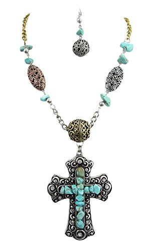 Western Cowgirl Rustic Bohemian Chunky Oversized Cross Necklace & Earrings Set (G) (Oversized Cross Necklace)