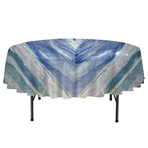 Marble Leakproof Polyester Round Tablecloth Onyx Stone Tribal Style with Color Elements Agate Authentic Pattern Outdoor and Indoor use D55 Inch Teal Dark Blue Light Grey