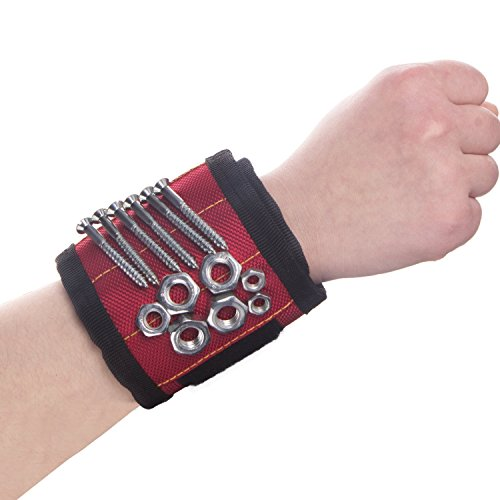 Gufts For Him - Magnetic Wristband, SUPER STRONG MAGNET, UPGRADED 5Embedded Super Powerful Magnets, Holds Small Metal Tools, Screws, Nails, Bolts Tightly While Working. Perfect Solution to Reach the Toolbox!