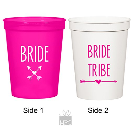 Bachelorette White Stadium Plastic Cups - Bride and Bride Tribe (10 cups)