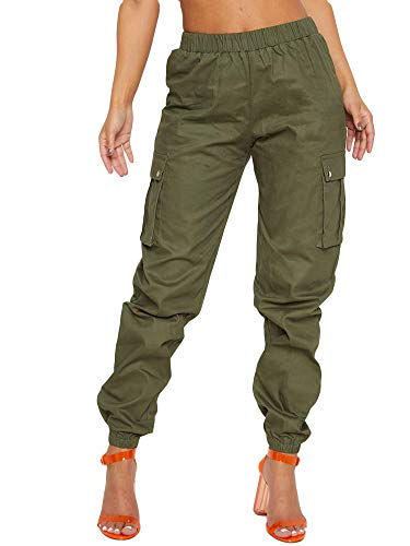 - Lynwitkui Womens Casual Cargo Jogger Pants High Waisted Loose Leg Trouser Stretch Pull On Butt Lifting Pant with Big Pockets