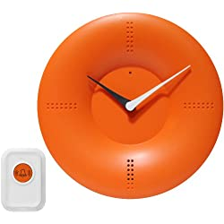 Infinity Instruments 10-inch Modern Wall/ TableTop Clock with Remote Control Chime, Orange