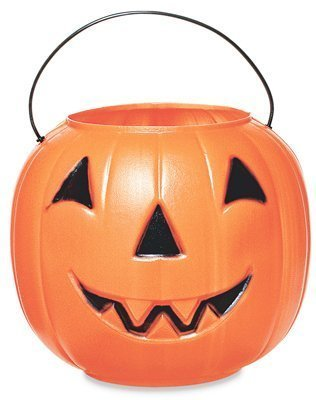 Halloween Pumpkin Jack O' Lantern Candy Bucket (Orange) -
