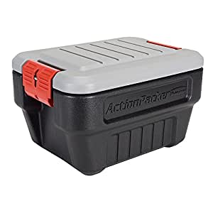 Rubbermaid ActionPacker Lockable Storage Box, 8 Gallon, Grey and Black (1949040)