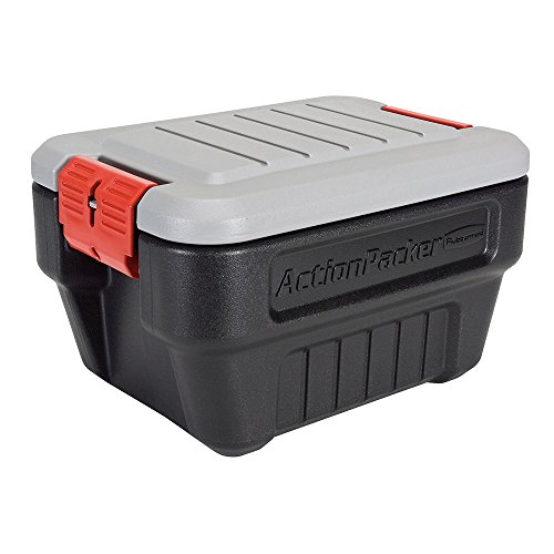 (Rubbermaid ActionPacker Lockable Storage Box, 8 Gallon, Grey and Black (1949040))