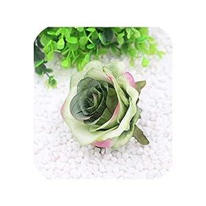10 pcs Artificial Silk Roses Flower Head Wedding Party Decoration,Light Green,10 pcs 8.5cm 23