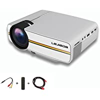 Mini Home Projector LEJIADA Movie Projector Support 1080P 1200 Luminous Efficiency with HDMI AV VGA USB SD for Outdoor Indoor Night Movie Video Games, DVD Player PC and Laptop (White)