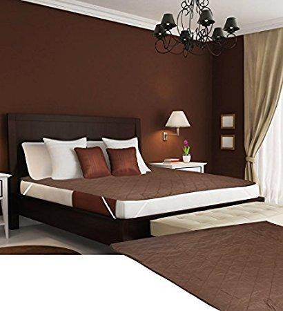 Desirica Branded Waterproof Double Bed Mattress Protector (Cotton, Brown)