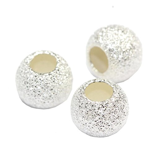 Stardust Cap - 20pcs x 8mm Genuine Sterling Silver Stardust Round Spacer Beads (Large Hole ~3.5mm hole) #ss147