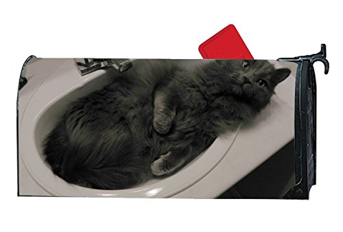 JuLeFan Cat In Sink Personalized Mailbox Cover Magnetic Fits Standard-Sized Mailboxes by JuLeFan