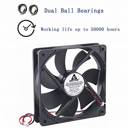 GDSTIME Dual Ball Bearings 120mm x 120mm x 25mm 5 inch 12v Brushless DC  Cooling Exhaust Fan