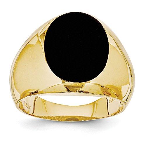 (Men's 14K Yellow Gold Black Onyx Ring)