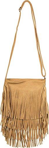 styleBREAKER bolso de bandolera con largos flecos en un moderno estilo étnico, bolso de hombro, bolso, de señora 02012113, color:Marrón claro