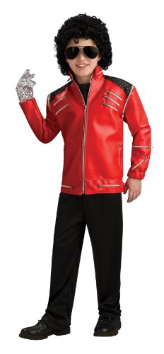 [Michael Jackson Child's Deluxe Red Beat It Zipper Jacket Costume Accessory, Medium] (Mj Thriller Halloween Costume)