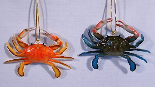 Chesapeake Bay Ornaments - Hand Painted Chesapeake Bay Maryland Red Blue Crab Christmas Ornament 3.5
