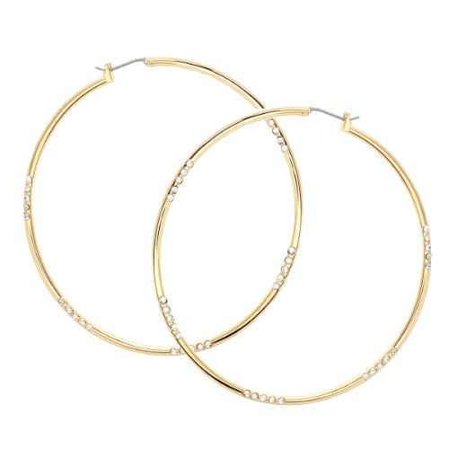 Large Gold Rhinestone Hoop - Gold Crystal Rhinestone Large Hoop Earrings