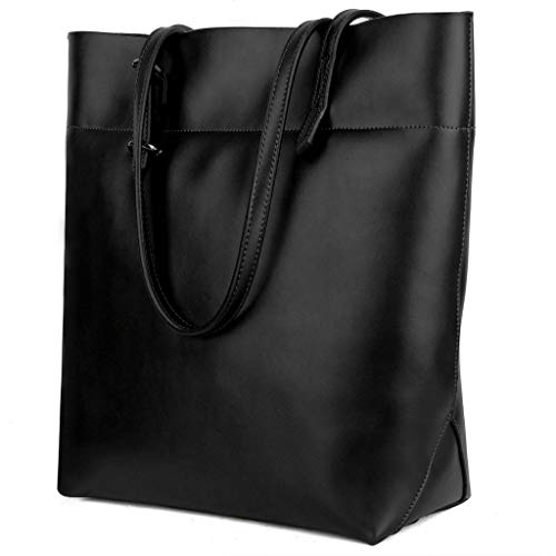 - YALUXE Women's Large Capacity Leather Work Tote Zipper Closure Shoulder Bag Tall Black1