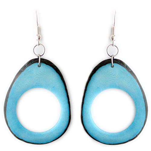 Slices Tagua Earrings Turquoise Handmade