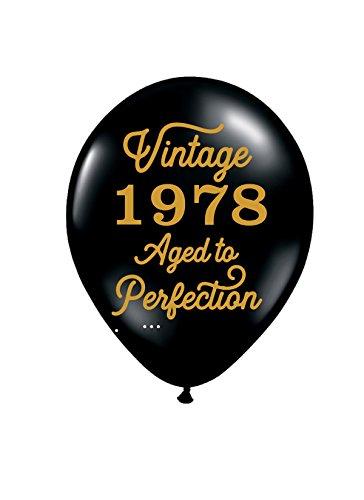 Vintage 1978 Black Balloons - 40th Birthday Balloons - Set of - Vintage Party Balloons