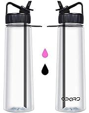 Opard Straw Water Bottle 900ml Motivational Times 100% BPA Free Sports Flip Nozzle Straw Drinks Bottle Leakproof Hydration Water Bottles with Detachable Straw