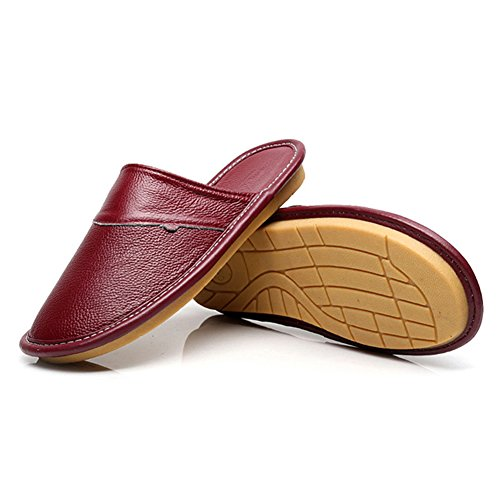 Cool Female TELLW Male Anti Spring Slippers Bedroom Fall women Odor Cowhide Slippers Summer Skid wine Indoor Proof Breathable Summer Home Leather Red rxwIrqT