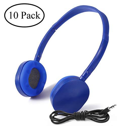 Wholesale Bulk Earphone Earbud Headphones-Kaysent KHP-10DBlue 10 Pack Wholesale Headphones for School,Airplane,Hospital,Students,Kids and Adults