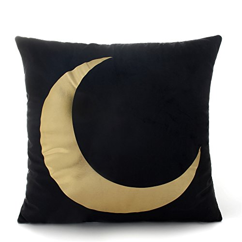 (FASHIONDAVID Gold Crescent moon Original Products Bronzing Flannelette Home Pillowcases Black Throw Pillow Cover Gold Elk Pattern Design Rock Punk Neoclassical Style 18 Inches)