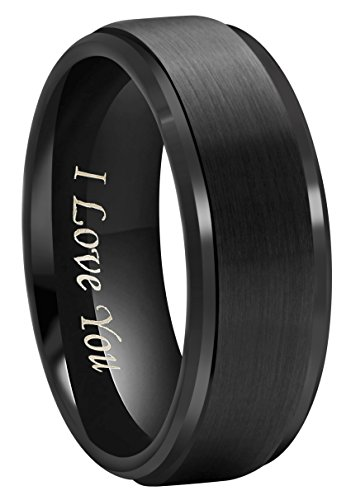 Crownal 5mm 8mm Black Tungsten Couple Wedding Bands Rings Men Women Step Down Beveled Edges Matte Brushed Finish Engraved