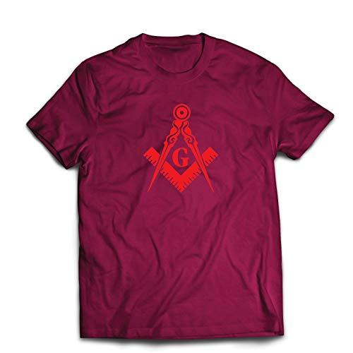 (lepni.me Men's T-Shirt Fraternal & Masonic Logo Freemasonry Square and Compass (X-Large Burgundy Red))