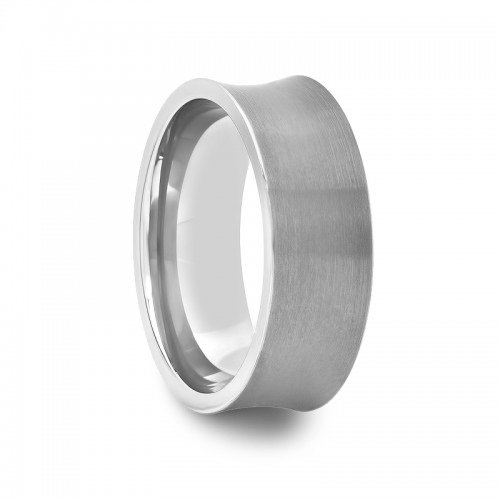 8 mm Mens Tungsten Carbide Rings Wedding Bands Concave Brushed Finish (Ring Carbide Band Tungsten Concave)