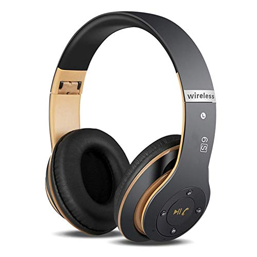 6S Wireless Headphones Over Ear,Hi-Fi Stereo Foldable Wireless Stereo Headsets Earbuds with Built-in Mic, Noise canceling, Micro SD/TF, FM for iPhone/Samsung/iPad/PC (Black & Gold)