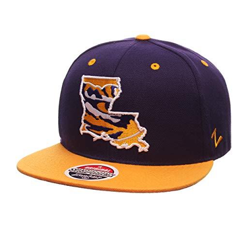 LSU Tigers Statement 6-Panel Snapback Cap - NCAA Zephyr Flat Bill, One Size Adjustable Baseball Hat ()