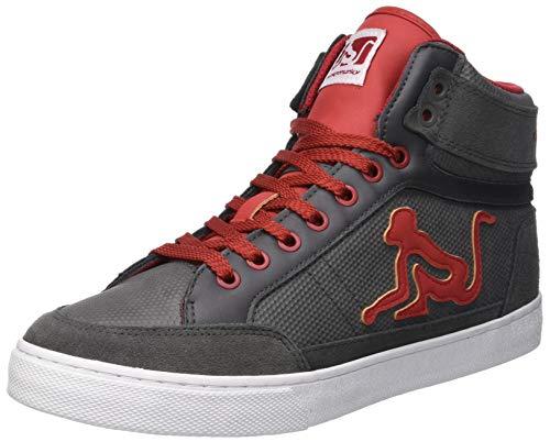 DrunknMunky Boston Vitaminix, Sneaker a Collo Alto Uomo Grigio (Gray Red 013)