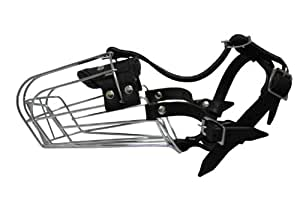 """Wire Cage & Leather Muzzle (Miami). Size D3, Black. 12"""" circumference, 5"""" length. For longer snouts:Doberman Pinschers, Shepherd, Collies, Pointers"""