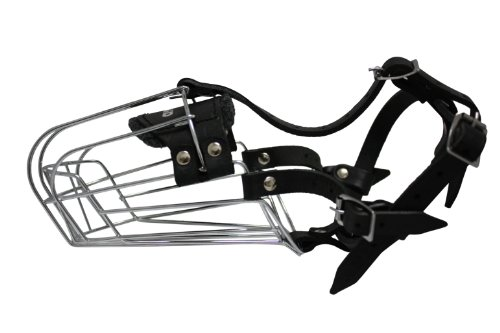 Wire Cage & Leather Muzzle (Miami). Size D3, Black. 12″ circumference, 5″ length. For longer snouts:Doberman Pinschers, Shepherd, Collies, Pointers