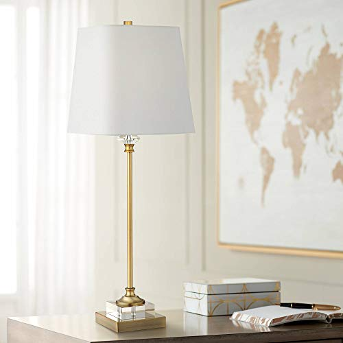 Julia Traditional Buffet Table Lamp Gold and Crystal Shaped Shade for Dining Room - Regency Hill