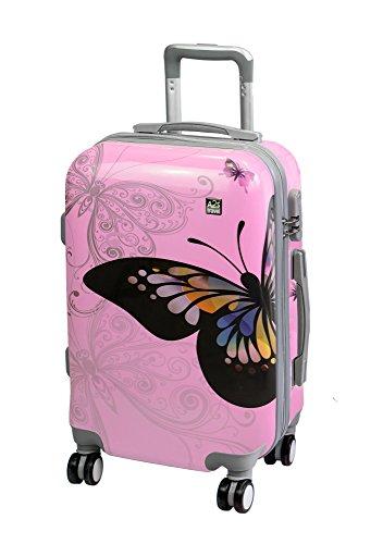 Cáscara A2s Rosa Cabina Suave Mariposa Equipaje 55x35x20cm De Llevar 8 Maleta Ligera Giratorias Duradera Bolso Con aviones Nueva Ruedas Dura Y York ww0HRqr5