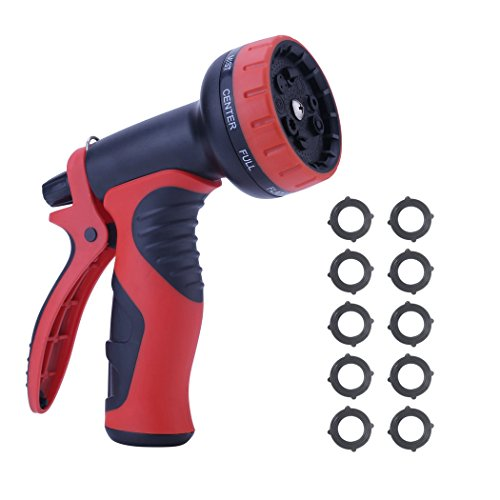 YiwerDer Garden Hose Nozzle 9 Adjustable Pattern Watering Nozzle- High Pressure Hand Sprayer for Plant Watering, Car Washing, Pet Bathing, Sidewalk Cleaning- 10 Free Gaskets (Wand Gasket)