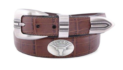 NCAA Texas Longhorns Tan Crocodile Tip Leather Concho Belt, ()