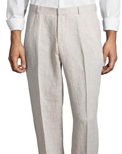 Palm Beach Men's Oxford Linen Plain Front Dress Pants, Natural, 34W Regular by Palm Beach