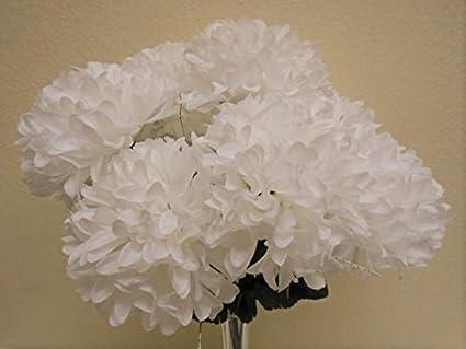 Amazon chrysanthemum mum ball bush 10 artificial silk flowers chrysanthemum mum ball bush 10 artificial silk flowers 19quot bouquet 2302 white mightylinksfo
