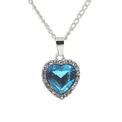 CHOP MALL Blue Heart of Ocean Crystal Gem Stone Crystal Necklace Pendant with - Mall Crystal Directions