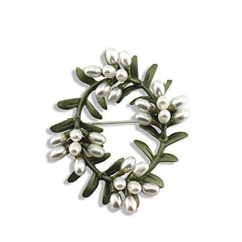 - HSQYJ Vintage Olive Branch Pearl Brooches Pin Green Enamel Paint Brooch Premium Elegant Unisex Palace Retro Brooch for Bridal Wedding Party Corsage Female Scarf Jewelry Accessories