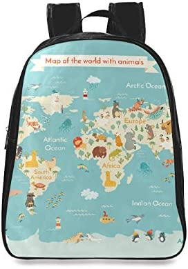 Animals World Map Kid World Vector Womens Fashion Bag Girl School Bag Backpack Daypack Print Zipper Students Unisex Adult Teens Gift